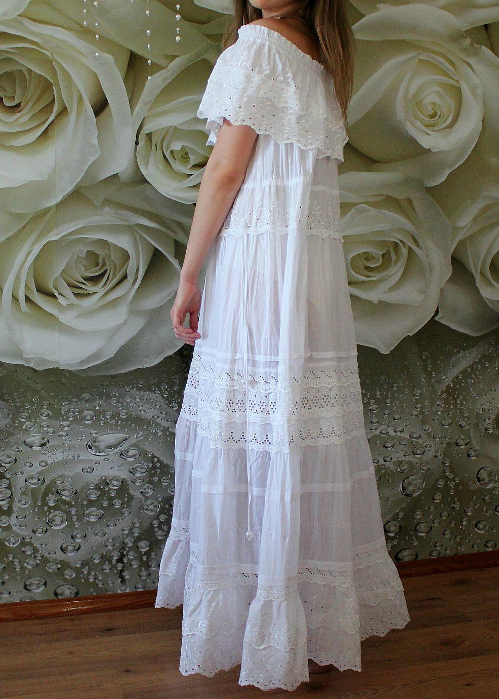 Off Shoulder Boho Wedding Dress Maxi White Linen Lace Gown Eco Wedding Dress Plus Size Bohemian Beach Wedding Dress Maternity Dress Handmade Long White Dress Boho Bohemian Beach Wedding Dress Eco [ 1380 x 986 Pixel ]