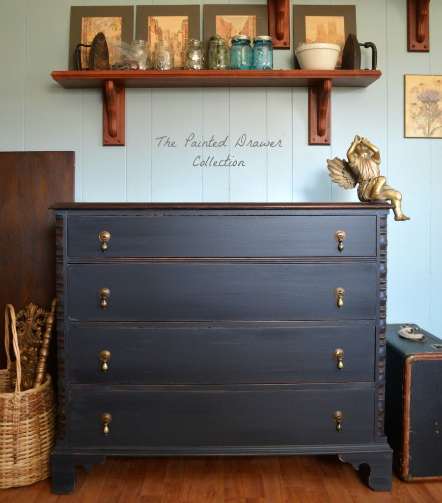 General Finishes Pepper Black Chalk Style Paint Vintage Dresser Painted