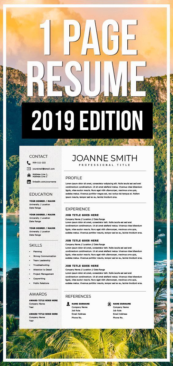 1 page resume template  one page resume  compact resume