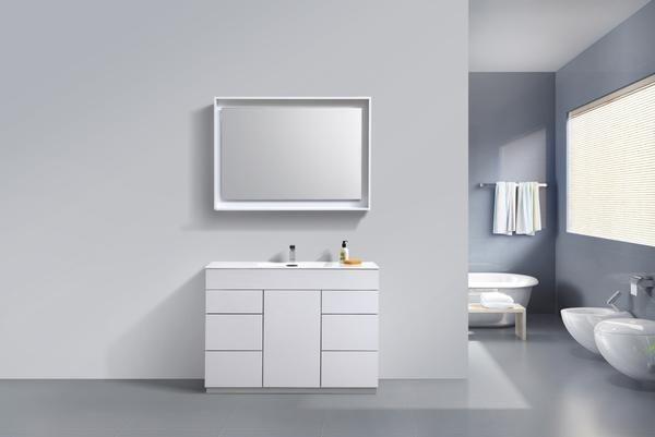 "Milano 48"" High Gloss White Modern Bathroom Vanity"