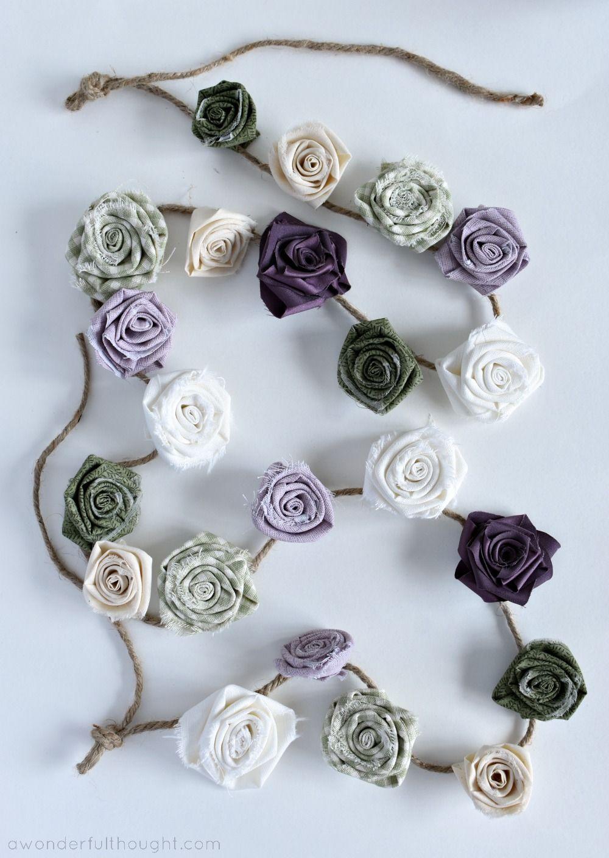 DIY Fabric Flower Garland - A Wonderful Thought