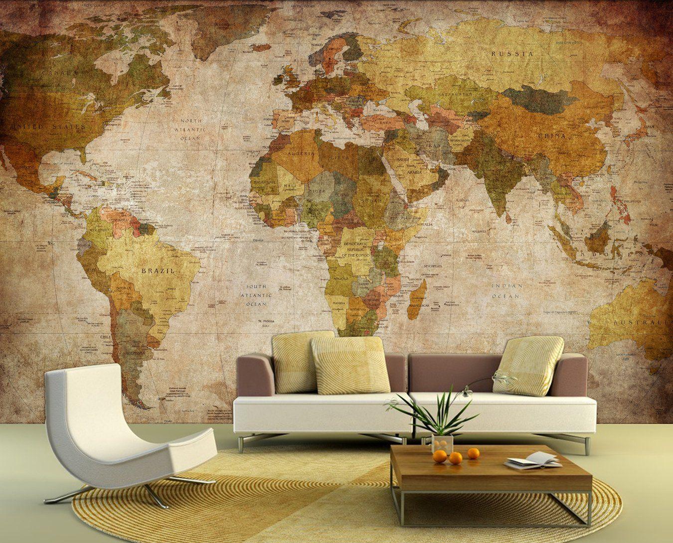 bilderdepot24 self adhesive photo wallpaper wall mural world map retro style