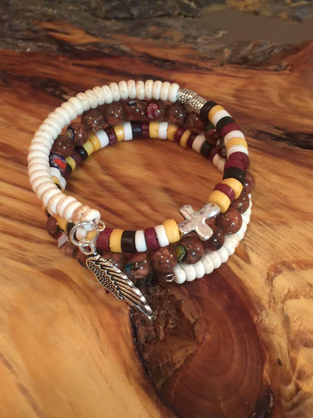 Beaded bohemian bracelet vintage bracelet memory wire bracelet women