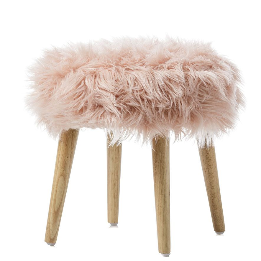 In a fluffy faux fur design, the Kingston stools from