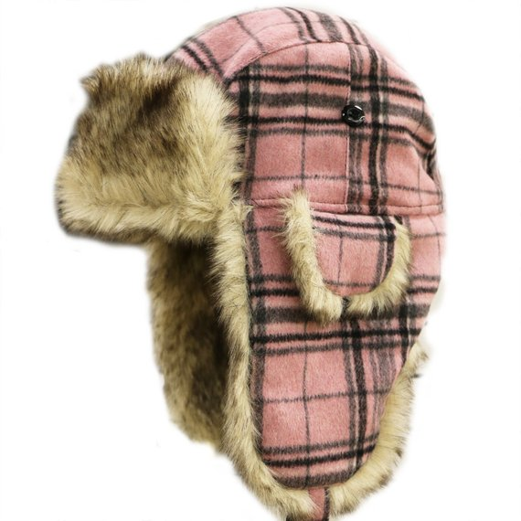433e8548dd99c Capsule Design Plaid Winter Trapper Bomber Hat with Faux Fur Pink in ...