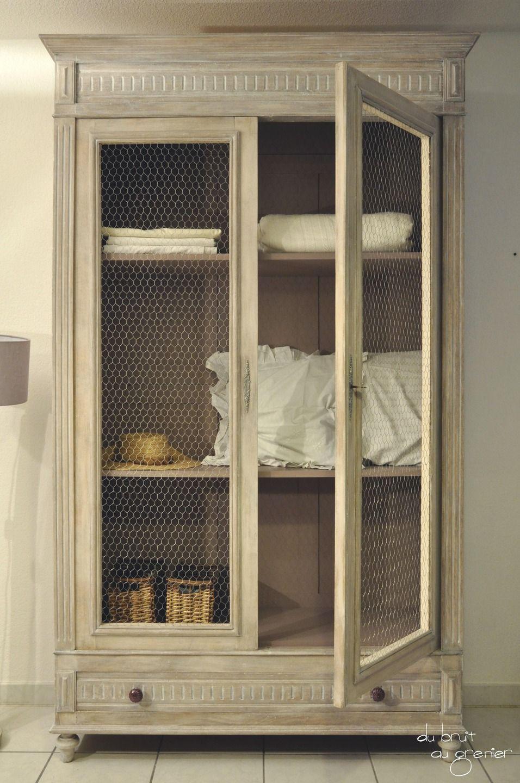Armoire henri ii patin e la cire blanche meubles et rangements par du bruit au grenier - Armoire ancienne relookee ...