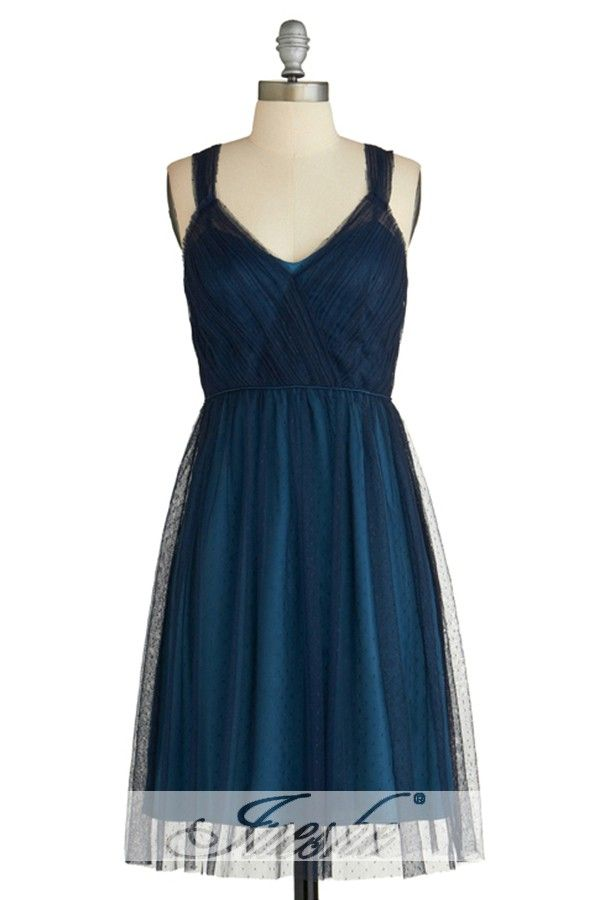 Short Navy Blue A-line Tulle Homecoming/Bridesmaid Dress