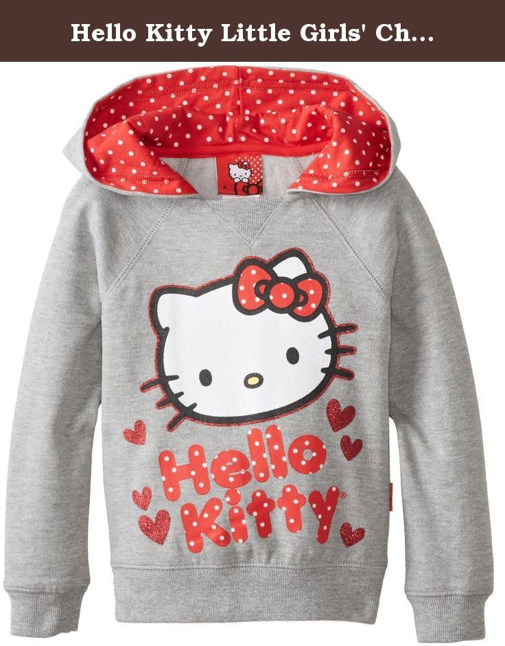 3195689f1 Hello Kitty Little Girls' Character Hoodie, Heather Grey, 6. Pullover  hoodie in with polka dots.