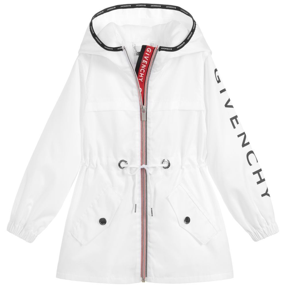 2c48f7b19bf1 Girls white windbreaker coat from Givenchy Kids. Lightweight and ...