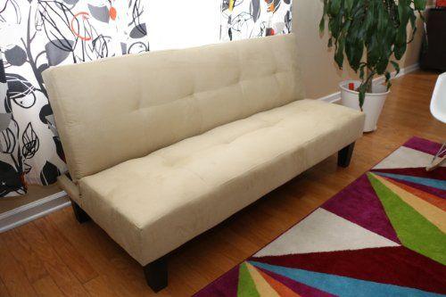 153 Home Life Beige Microfiber With Adjule Back Klik Klak Sofa Futon Bed Sleeper Convertible
