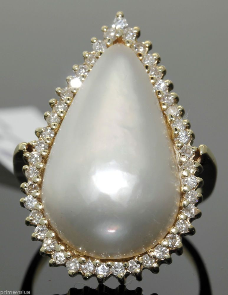 14K YELLOW GOLD PEAR SHAPED MABE PEARL With 0.58