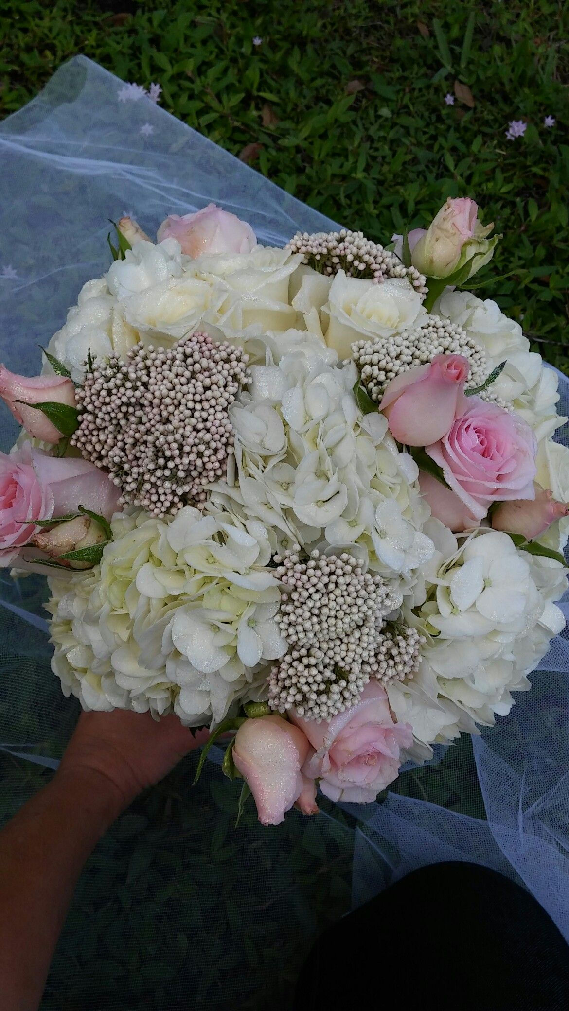 Bridal bouquet of hydrangea, blush roses and rice flower | wedding ...