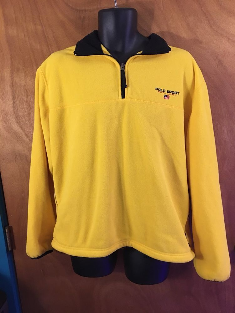 d2ab8e9144aa4 POLO SPORT RALPH LAUREN Mens Pullover Yellow FLEECE Size L USA MADE Vintage   PoloSport  Pullover