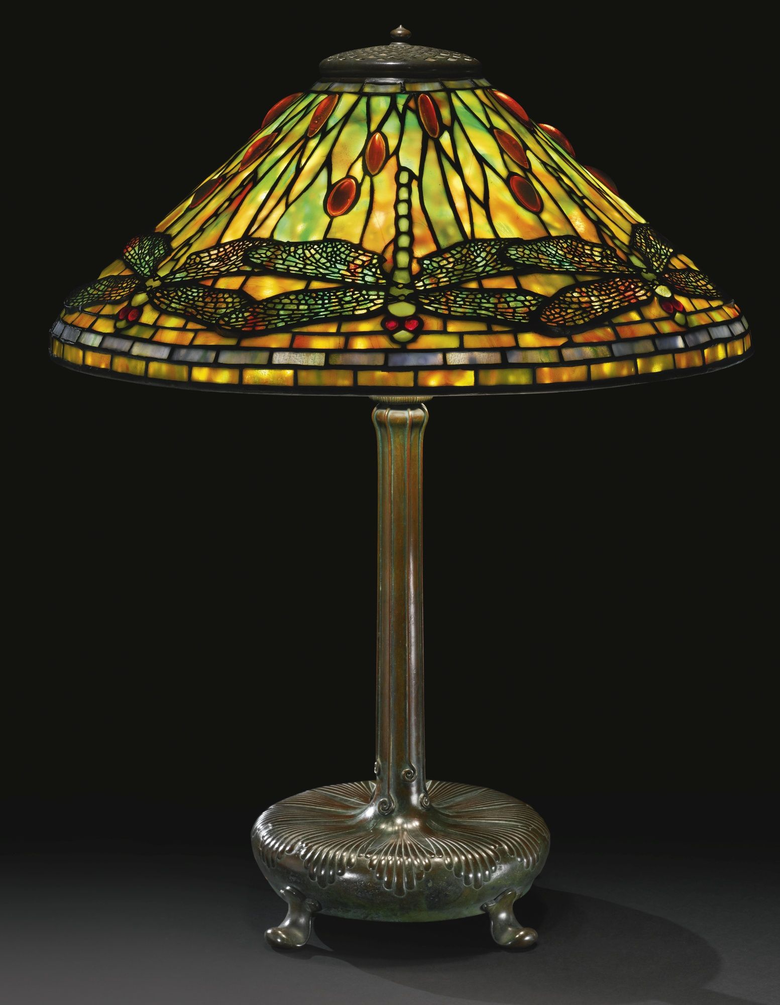 "TIFFANY STUDIOS ""DRAGONFLY"" TABLE LAMP (leaded glass and"