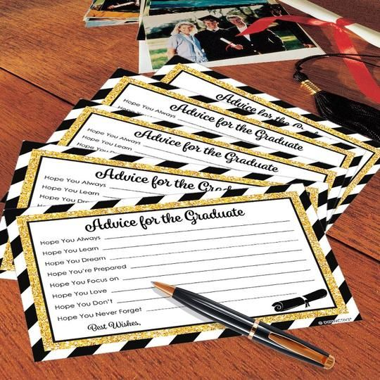 Black and Gold Graduation Advice Cards - 25 Count #graduationparties