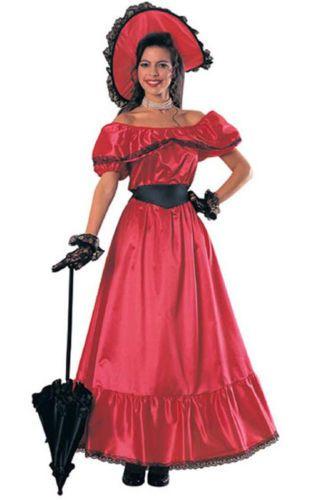 Red Southern Belle Adult Womens Scarlett O Hara Gone Wind Fancy Dress  Costume  a860a40d2