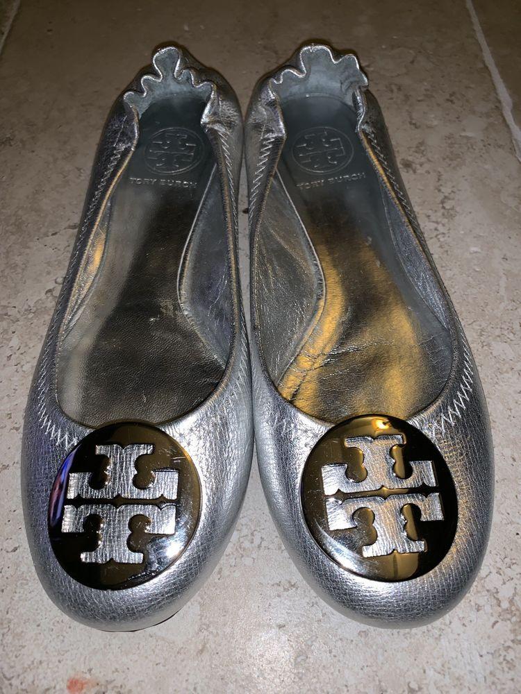 9bbd743bf4f9a Tory Burch Metallic Silver Ballet Flats Womens Size 7 #fashion ...