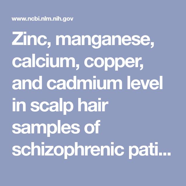 Zinc, manganese, calcium, copper, and cadmium level in ...