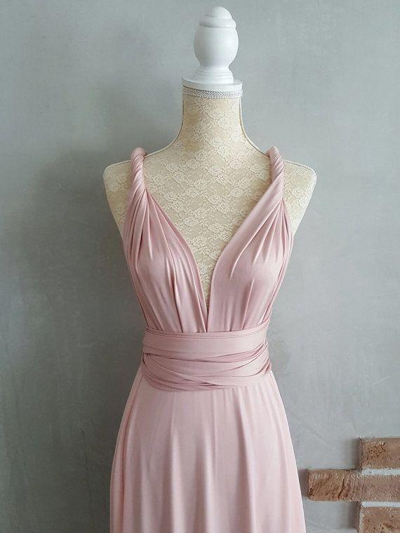 0ed09f62e1d4 Bridesmaid Dress Infinity Dress Nude Pink with Chiffon Overlay Floor ...