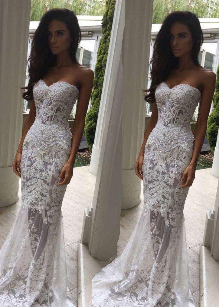 Mermaid dress wedding  Modern lace mermaid dress  kristys wedding  Pinterest  Wedding