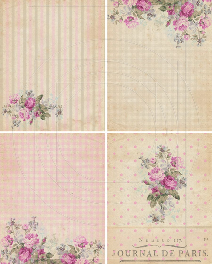 DigiTAL DoWnLOAds ShaBBY ChIc GiFt TAgs FLoRaL baCKgroUnds ATC bAckGroUnDs FrENch EphEmeRa PrinNTaBLe sCrAPbooKing KiT PoLKa DoTs, No. 53. $4.25, via Etsy.