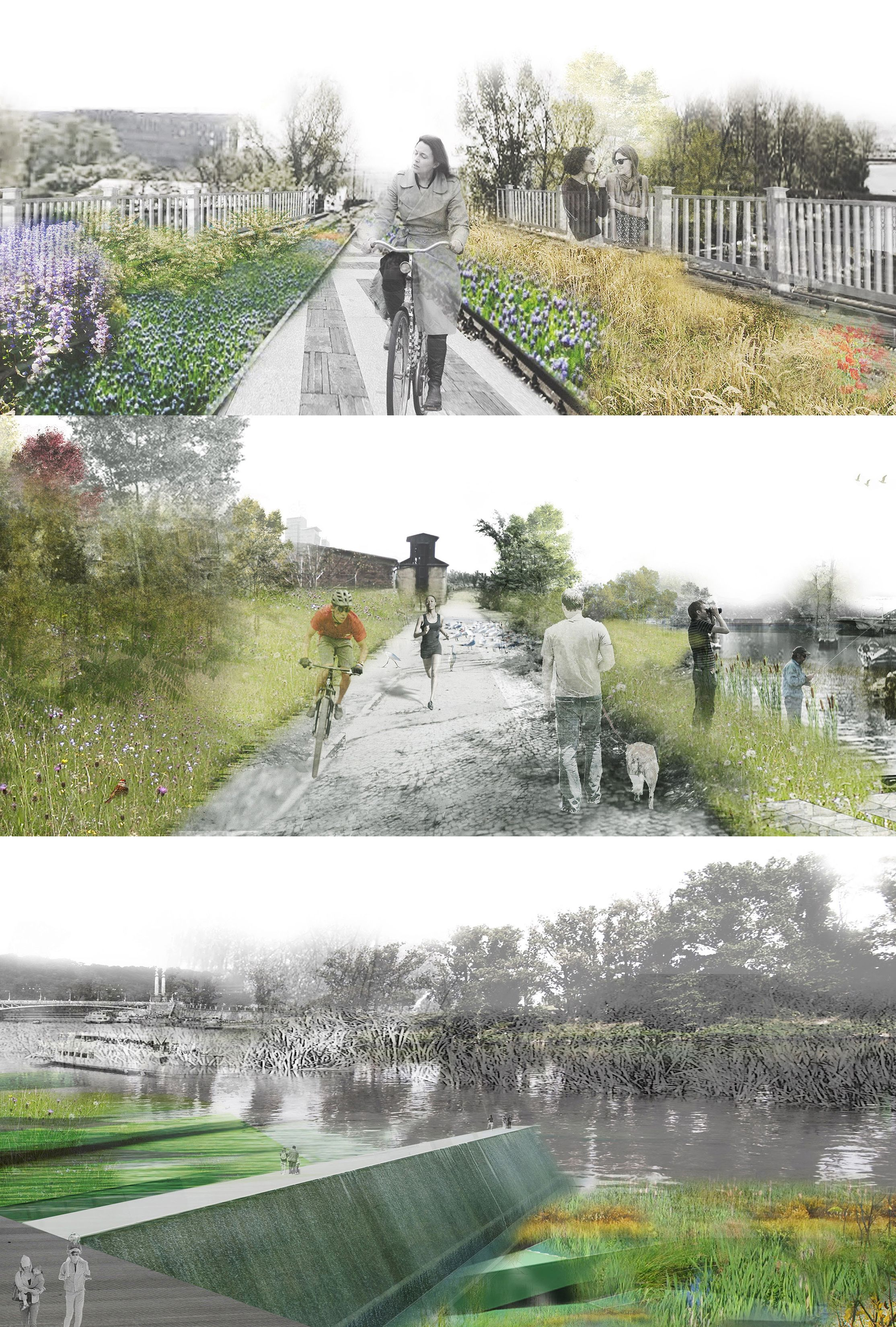 Bridging Prague First Place Competition Entry By North Design Office Landscape Architecture Perspective Perspective Images Cool Landscapes
