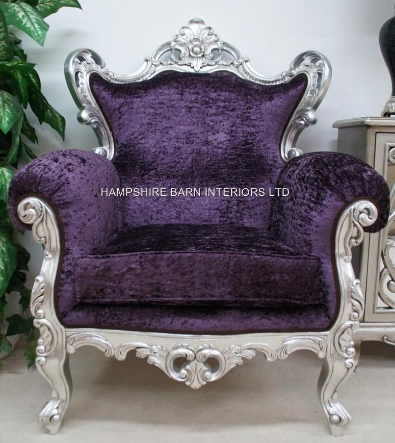Shades Of Purple: Purple Crushed Velvet Louis Arm Chair (throne)