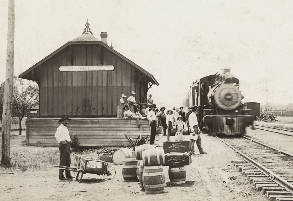 circa 19001910 photo of the train depot in Poth, Texas