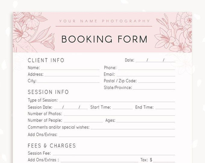 Photography Forms, Client Booking Form For Photographer - wedding photography contract template