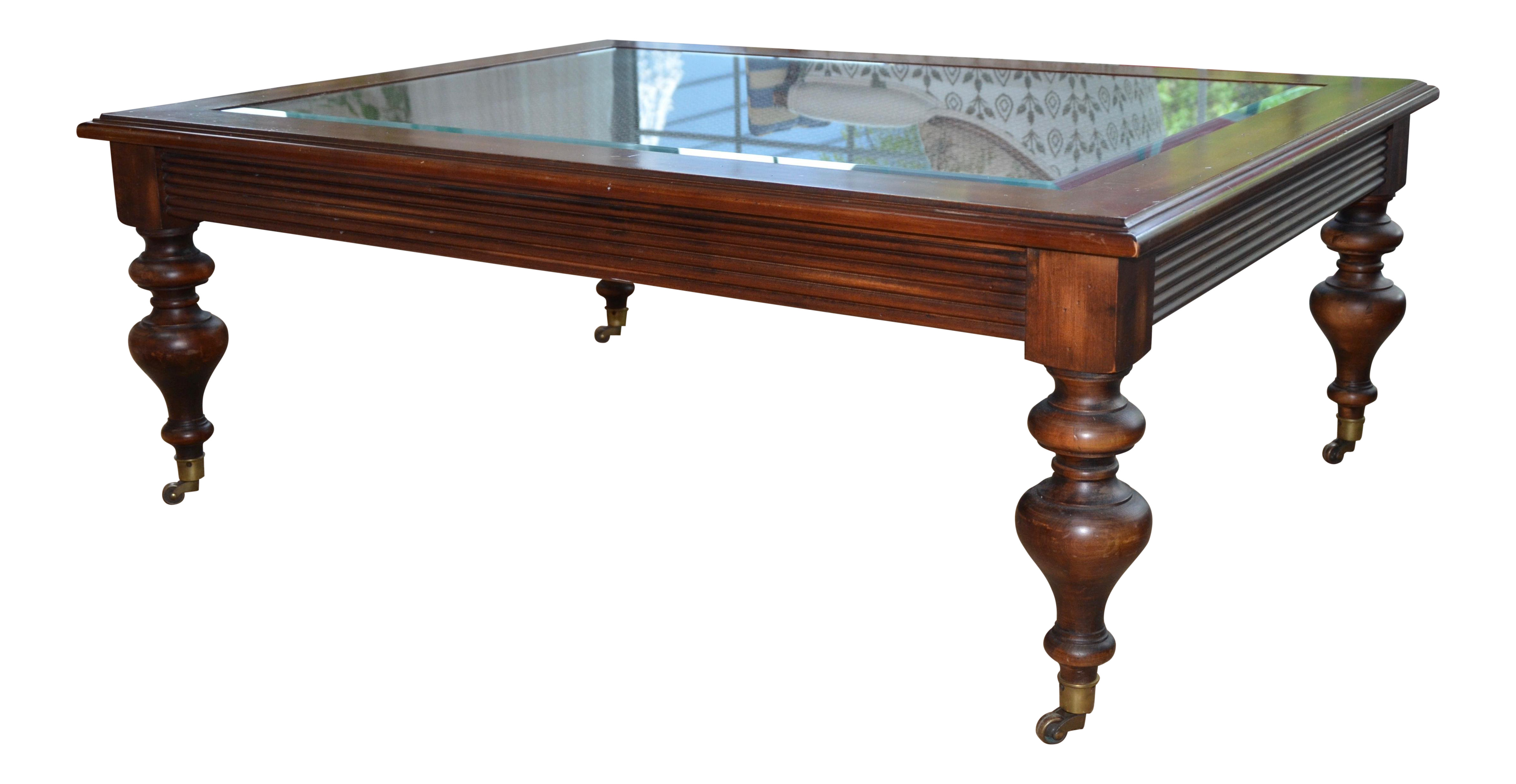 Ethan Allen Caned Coffee Table With Glass Top Brass Casters Glass Top Coffee Table Brass Casters Coffee Table [ 2462 x 4759 Pixel ]