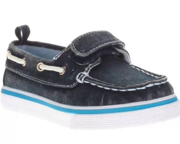 Toddler Boys Boat Shoes CANVAS Deck NAVY BLUE Distressed VELCRO ...