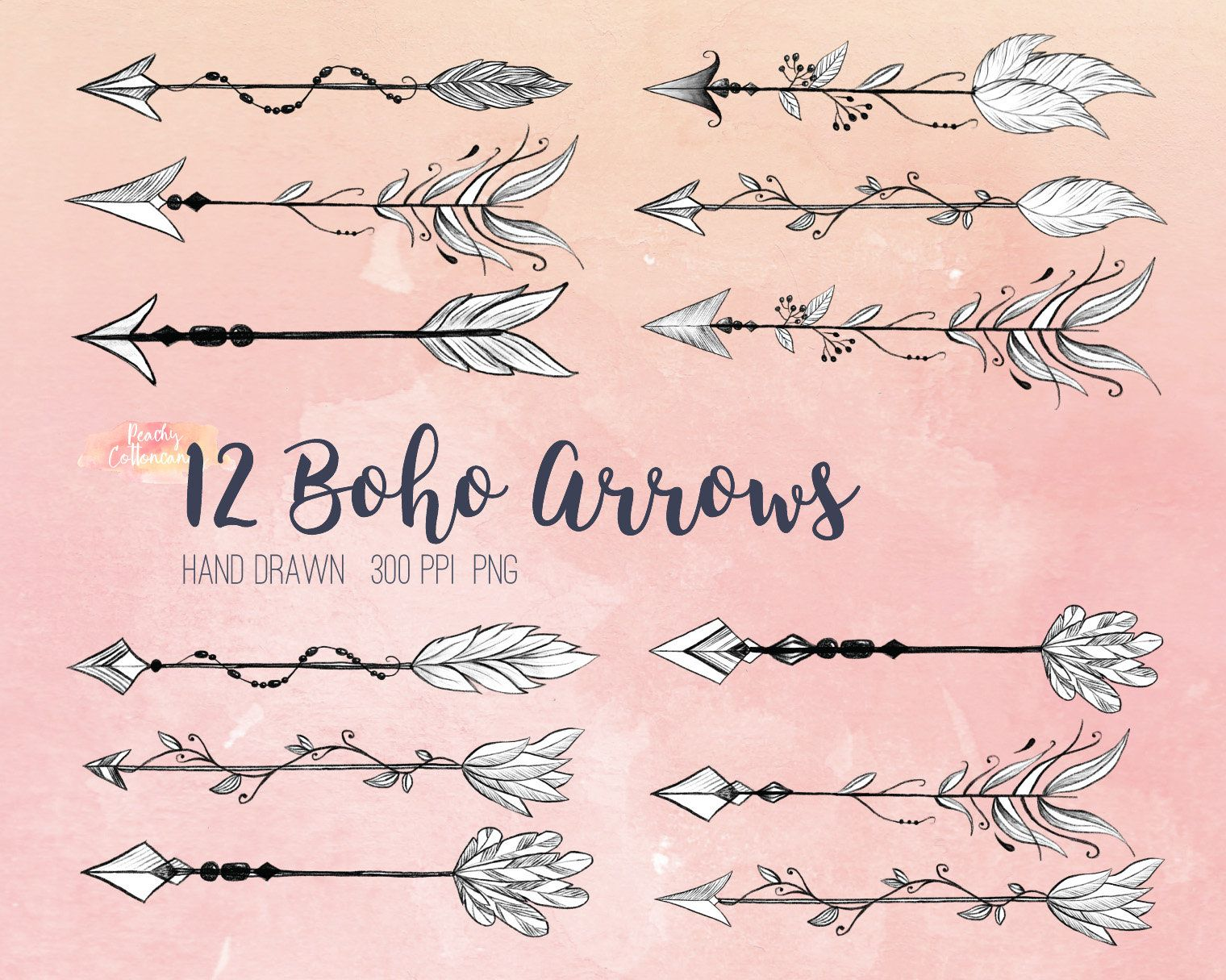 Buy 3 Get 30 Off Hand Drawn Boho Arrows Clipart Tribal Arrow Clipart Bohemian Arrow Clip Art Tribal Arrows Clip Art Native Arrow Arrow Tattoos For Women How To Draw Hands Arrow Clipart