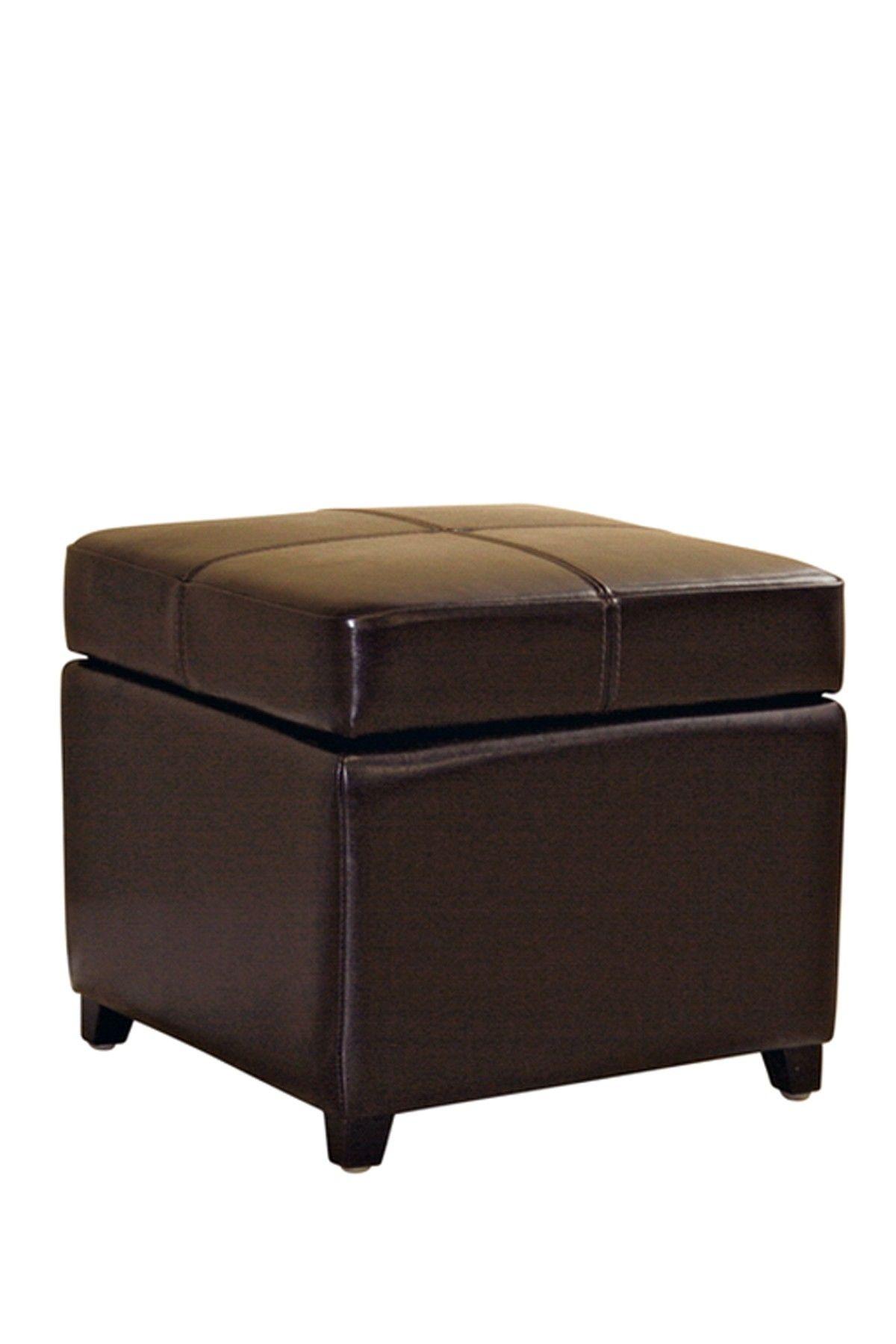 Biondello Square Leather Storage Ottoman Dark Brown On Hautelook Leather Storage Ottoman Storage Cube Ottoman Wholesale Interiors