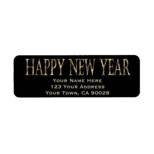 gold black happy new year custom return address labels