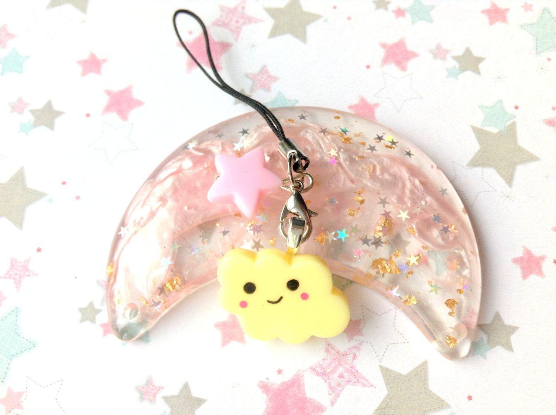 Yellow Kawaii Cloud Phone Charm With Pastel Star Bead, Anime Phone Strap, Cute Cloud, Fairy kei, Pastel Kei, Kawaii Charms, Custom Cute Gift by CreaBia on Etsy