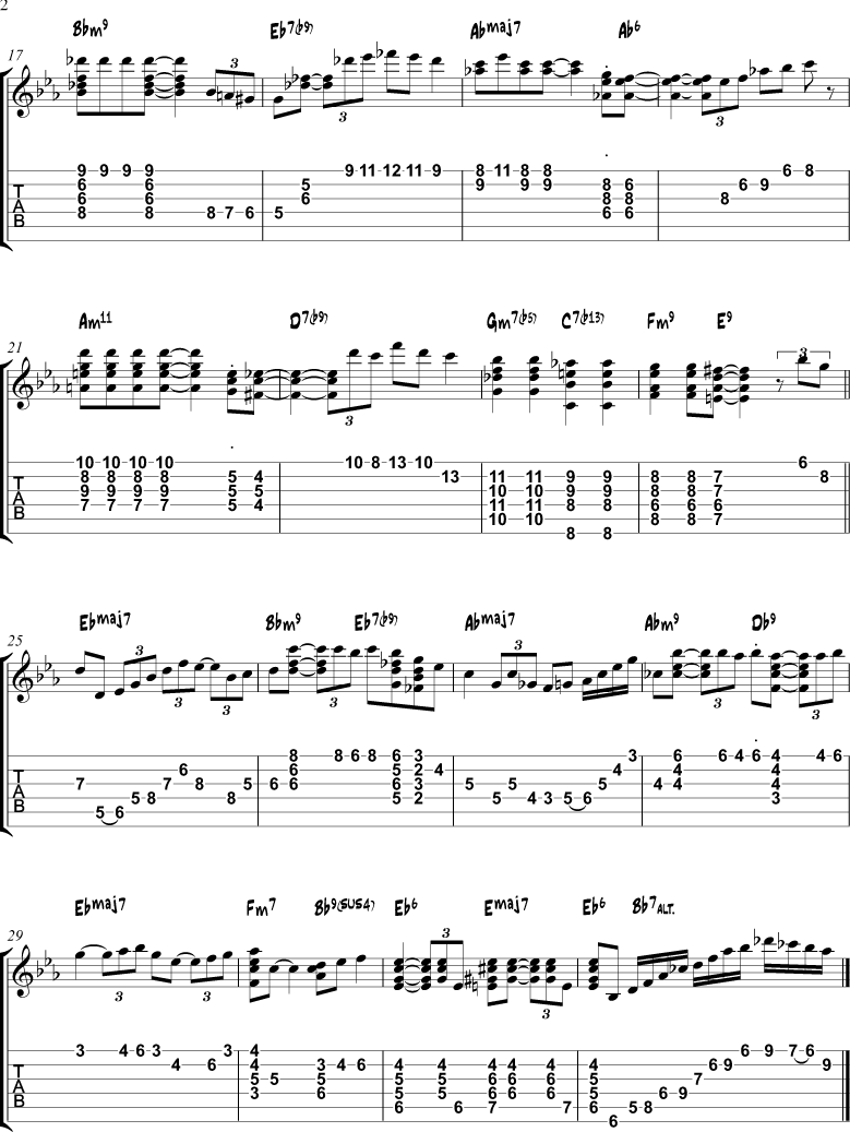 Misty chord melody tabs page 2