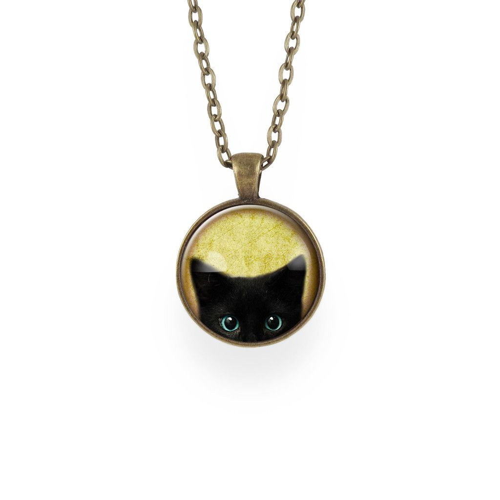 Handmade black cat necklace.