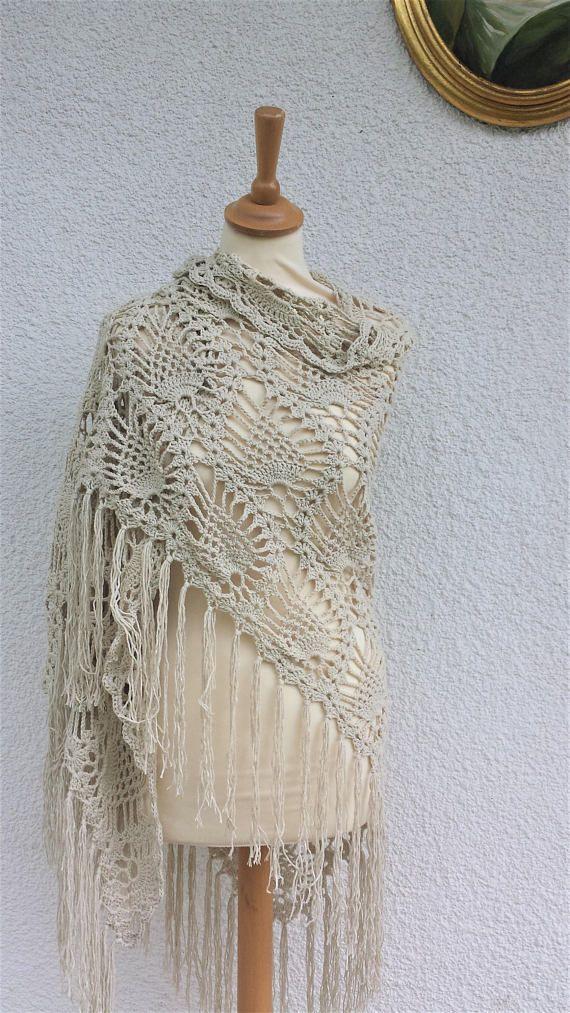 Boho Crochet chal, chal de encaje, encaje bufanda, mantón de la piña ...