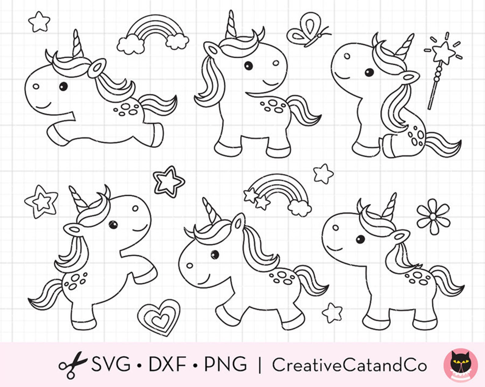 Unicorn Coloring Svg Clip Art Baby Unicorn Outline Line Art For Kid Birthday Party Coloring Activity Digital Stamp Svg Dxf Png Clipart Unicorn Outline Digital Stamps Free Digital Stamps