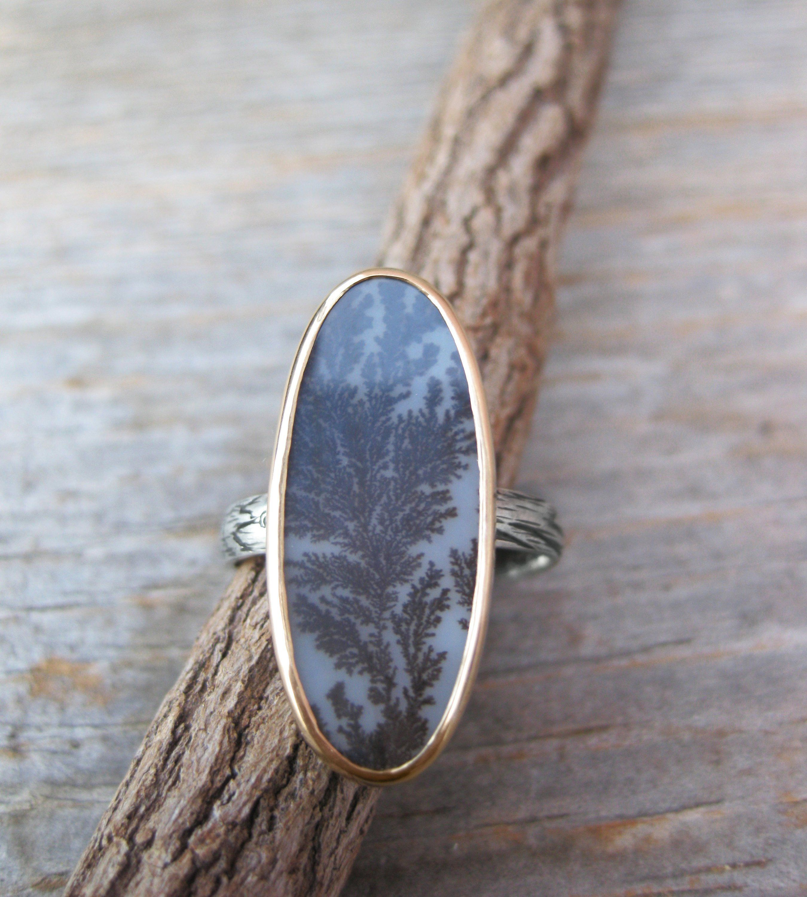 Sterling Silver and Agate Statement Ring Dendritic Agate Ring