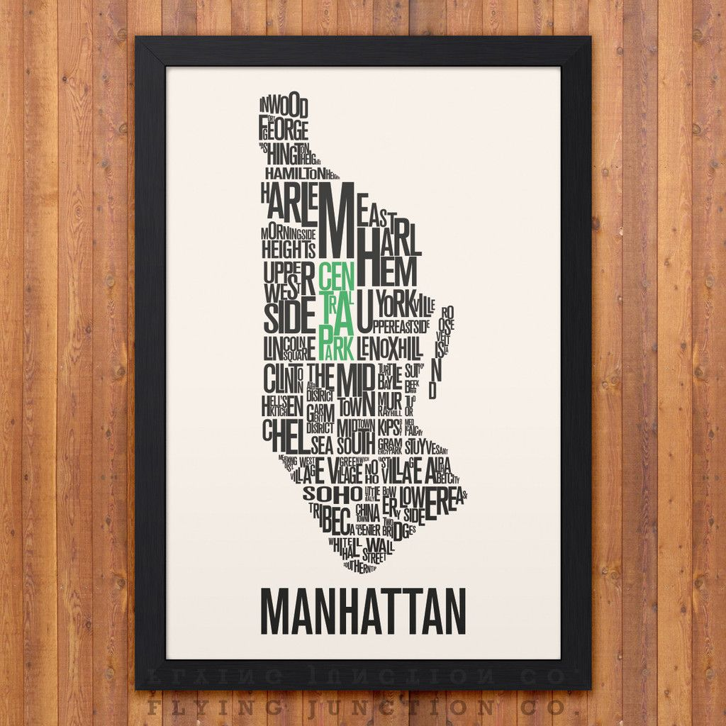 Manhattan NYC Neighborhood Map - Ivory