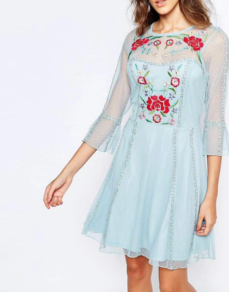 Image 3 of Frock And Frill Fluted Sleeve Skater Dress With Folk Embroidery