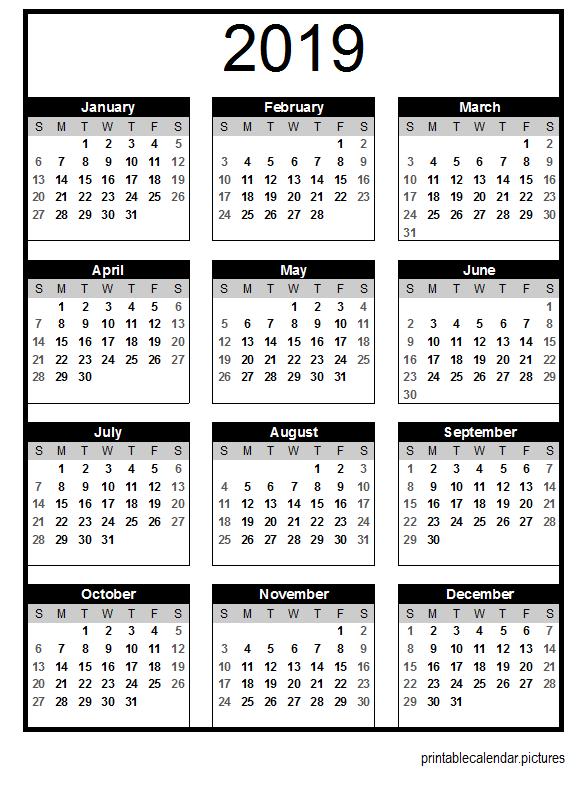 Calendario 2020 Editable Illustrator.Printable Calendar 2019 2019 Calendar Calendar 2019