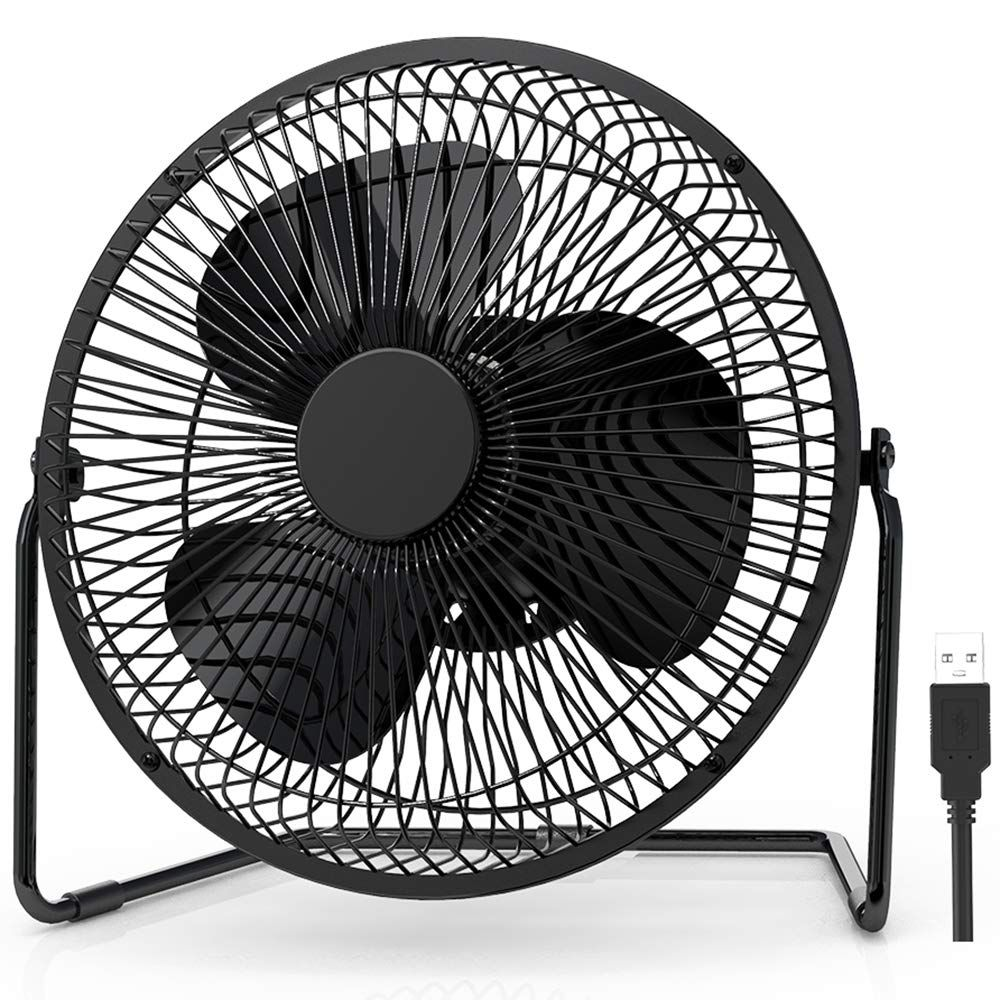 EasyAcc 9 inch USB Desk Fan USB EasyAcc 9 inch USB Desk Fan USB Powered Table Fan Enhanced Airflow No Noise Quiet 2 Speeds 360° Rotation Personal Portable Desktop Cooling Floor Fan USB Powered ONLY for Home Office Hurricane Camping