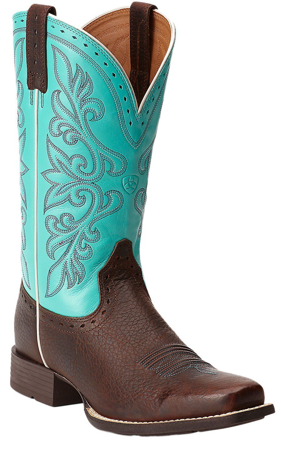 Ariat® Rundown Brown Oiled Rowdy with Turquoise Top Punchy Square ...