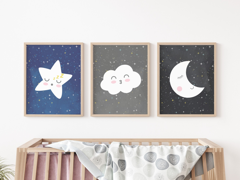 Nursery Wall Art Set Of 3 Nursery Posters Toddler Wall Art Nursery Posters Nursery Decor Stars Moon Space Cloud Nursery Art Prints Toddler Wall Art Art Wall Kids Nursery Wall Art