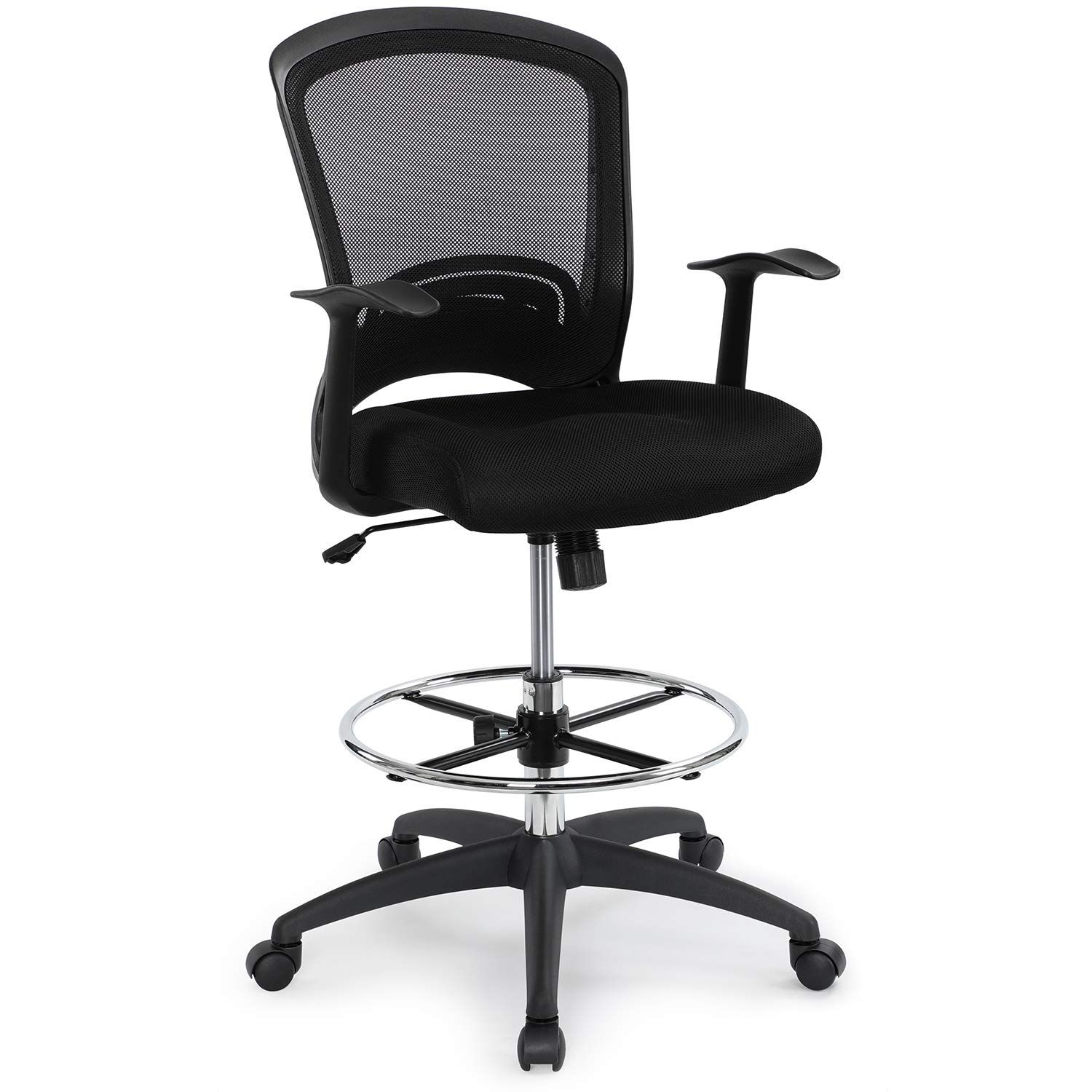 Ergonomic Midback Mesh Adjustable Drafting Chair With Foot Ring Standingdesk Matched Tall Swivel Computer Office Stool Black Drafting Chair Office Stool Chair