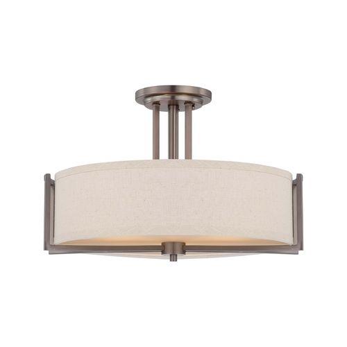 Modern semi flushmount lights in hazel bronze finish