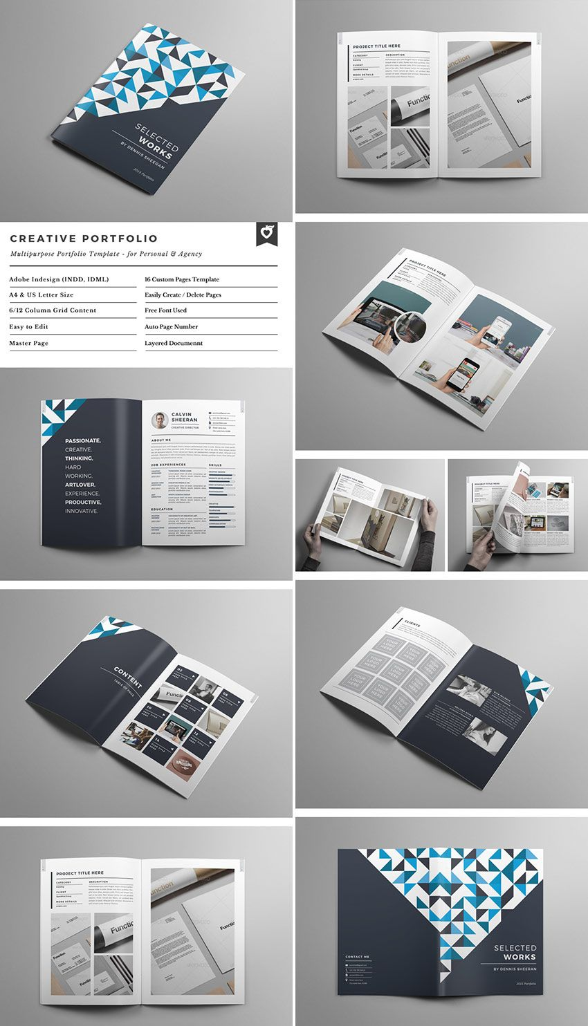 Creative Portfolio Brochure INDD Graphic Design Editorial - Portfolio brochure template