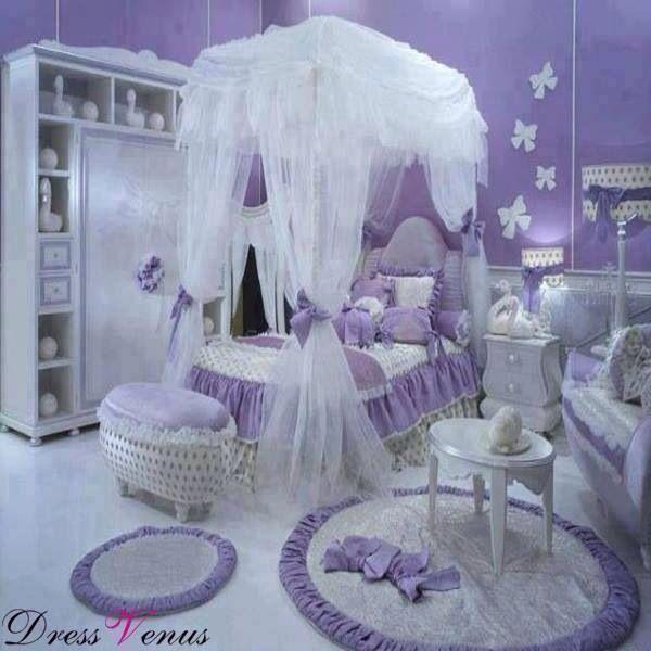 Purple Kids Bedroom Decorating Ideas: Girls Princess Bedroom